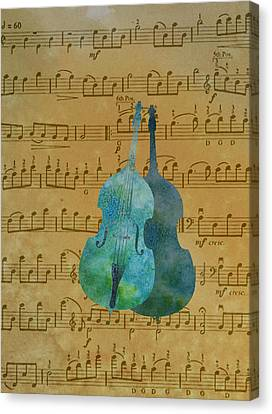 Double Double Bass On Score Canvas Print by Jenny Armitage