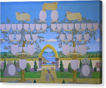 Double Family Tree Chart Mediterranean Garden Canvas Print by Alix Mordant
