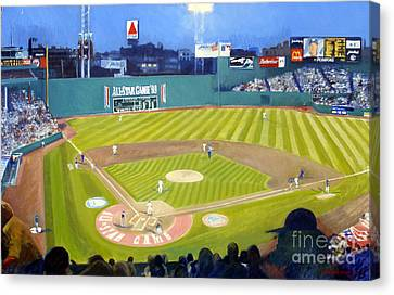 Double Play In Fenway Canvas Print by Candace Lovely