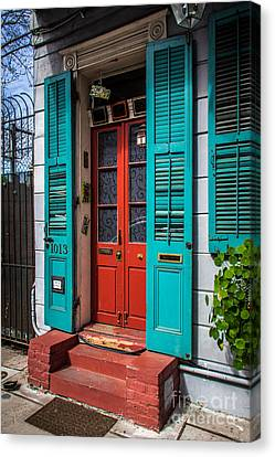 Double Red Door Canvas Print by Perry Webster