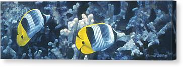 Double Saddleback Butterflyfish Canvas Print by Randall Scott