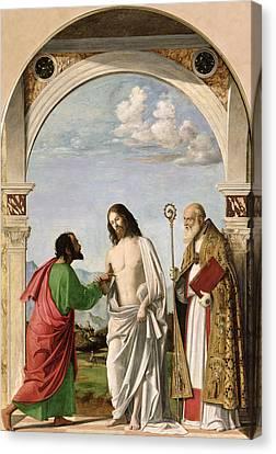 Doubting Thomas With St. Magnus Canvas Print by Giovanni Battista Cima da Conegliano