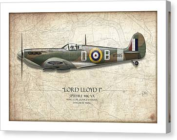 Douglas Bader Spitfire - Map Background Canvas Print by Craig Tinder