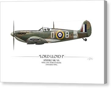 Douglas Bader Spitfire - White Background Canvas Print by Craig Tinder