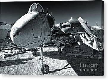 Douglas Skyhawk A-4b - Black And White Canvas Print by Gregory Dyer