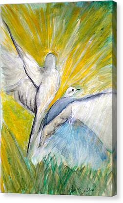 Doves At Sunrise Canvas Print by Linda Waidelich