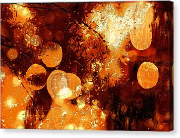 Raindrops And Bokeh Abstract Canvas Print by Fine Art By Andrew David