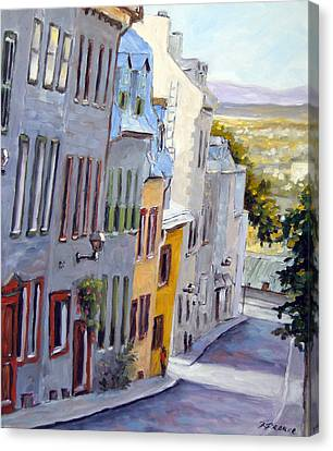 Down The Hill Old Quebec City Canvas Print by Richard T Pranke