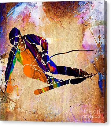 Downhill Racer Canvas Print by Marvin Blaine