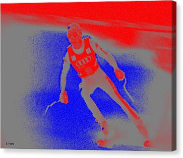Downhill Skier Canvas Print by George Pedro