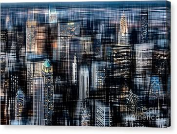 Downtown At Night Canvas Print by Hannes Cmarits