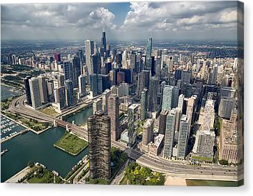 Downtown Chicago Aerial Canvas Print by Adam Romanowicz