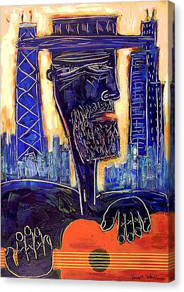 Downtown Chicago Blues - Chicago Skyline Art Canvas Print by Joseph Catanzaro