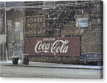 Downtown Covered In Snow Canvas Print by Benanne Stiens