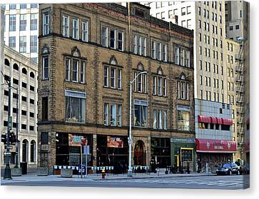 Downtown Detroit Canvas Print by Frozen in Time Fine Art Photography