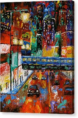 Downtown Friday Night Canvas Print by J Loren Reedy