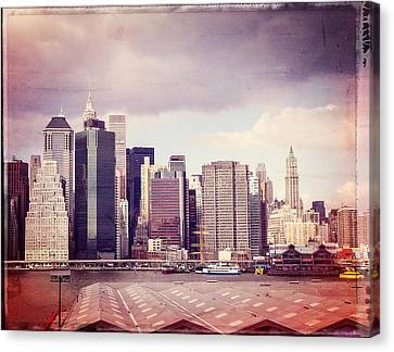 Downtown From Brooklyn Canvas Print by Frank Winters