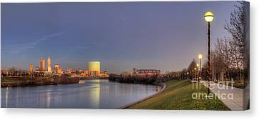 Downtown Indianapolis From White River Canvas Print by Twenty Two North Photography