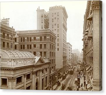 Downtown Los Angeles In 1900 Canvas Print by Underwood Archives