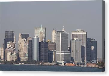 Downtown Manhattan Shot From The Staten Island Ferry Canvas Print by John Telfer