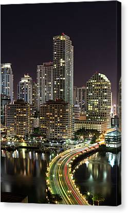 Downtown Miami From Brickell Key Canvas Print by Andres Leon