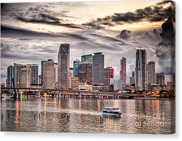 Downtown Miami Skyline In Hdr Canvas Print by Rene Triay Photography