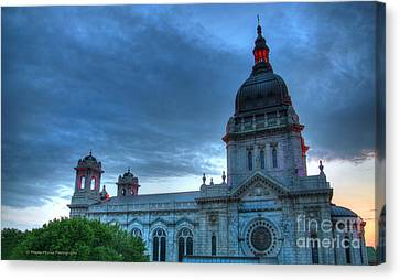Downtown Minneapolis Skyline The Basilica Of Saint Mary Canvas Print by Wayne Moran