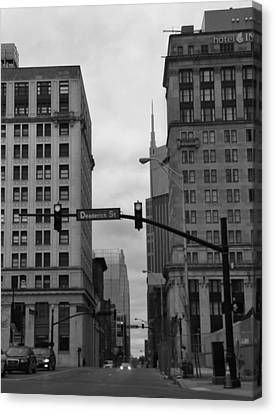 Downtown Nashville In Black And White Canvas Print by Dan Sproul