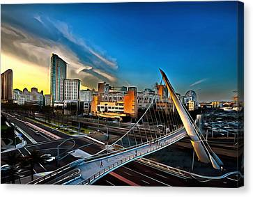 Downtown San Diego Petco Park Canvas Print by Russ Harris