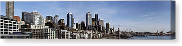 Downtown Seattle And Mount Rainier Canvas Print by Michael DeMello