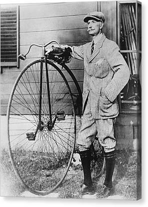 Dr. Kendall With His Bicycle Canvas Print by Underwood Archives