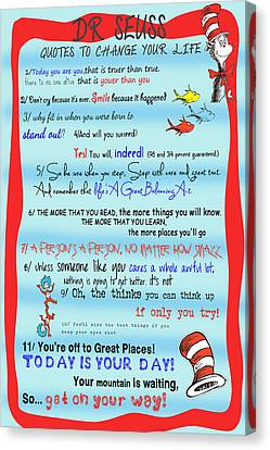 Dr Seuss - Quotes To Change Your Life Canvas Print by Nomad Art