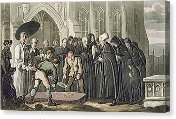 Dr Syntax At The Funeral Of His Wife Canvas Print by Thomas Rowlandson