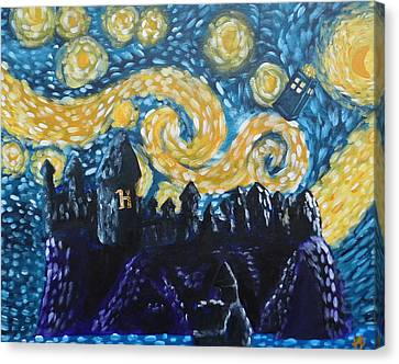 Dr Who Hogwarts Starry Night Canvas Print by Jera Sky