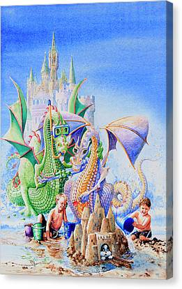 Dragon Castle Canvas Print by Hanne Lore Koehler