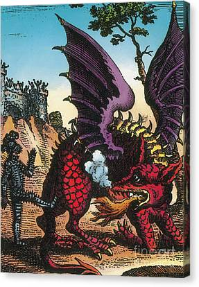 Dragon Of Wantley, 16th Century Canvas Print by Photo Researchers