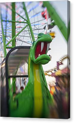 Roar Too The Green Dragon Ride Canvas Print by Scott Campbell