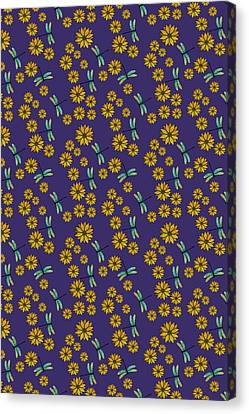 Dragonflies And Daisies On Plum Canvas Print by Jenny Armitage
