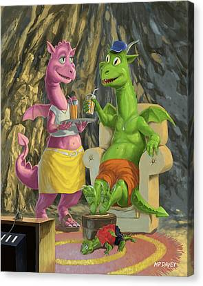 Dragons Relaxing At Home Canvas Print by Martin Davey