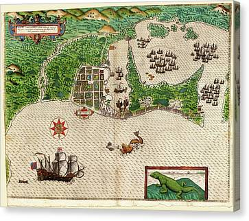 Drake's Attack On Cartagena Canvas Print by Library Of Congress, Rare Book And Special Collections Division