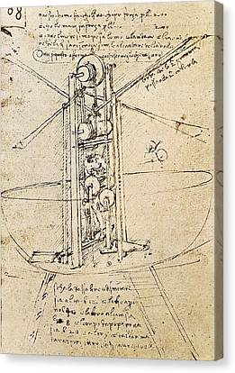 Drawing By Leonardo Da Vinci.. Flying Canvas Print by Everett