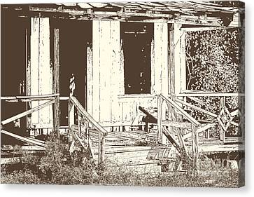 Drawing Of An Old House With Porch In Brown 3000.04 Canvas Print by M K  Miller