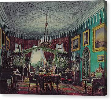 Drawing Room Of Empress Alexandra Feodorovna Canvas Print by Eduard Hau