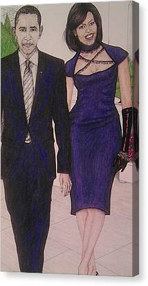 Drawings Of Barack And Michelle Obama Canvas Print by Vicki  Jones