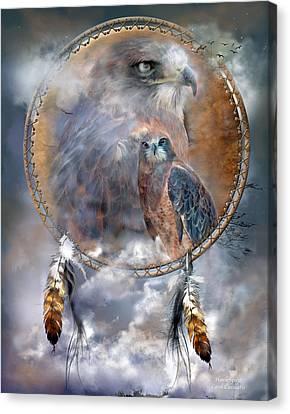 Dream Catcher - Hawk Spirit Canvas Print by Carol Cavalaris