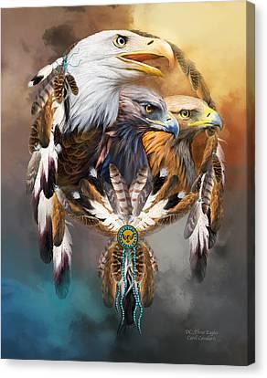 Dream Catcher - Three Eagles Canvas Print by Carol Cavalaris
