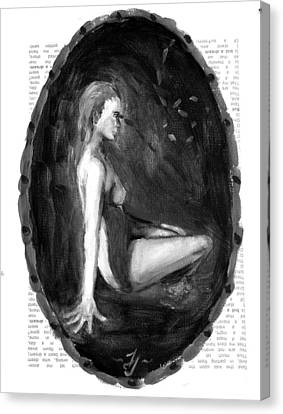 Dream Figure Study 1 Black And White Canvas Print by Jessica Johnson