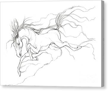 Running Horses Canvas Print featuring the drawing Dream Horse by Angel  Tarantella