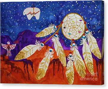 Dreamcatcher Over The Mesas Canvas Print by Ellen Levinson
