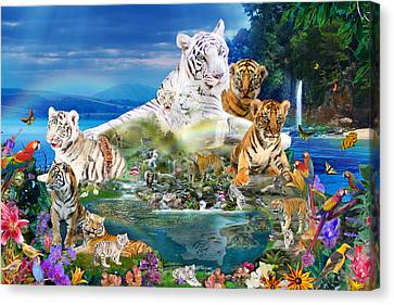 Dreaming Of Tigers  Variation  Canvas Print by Alixandra Mullins